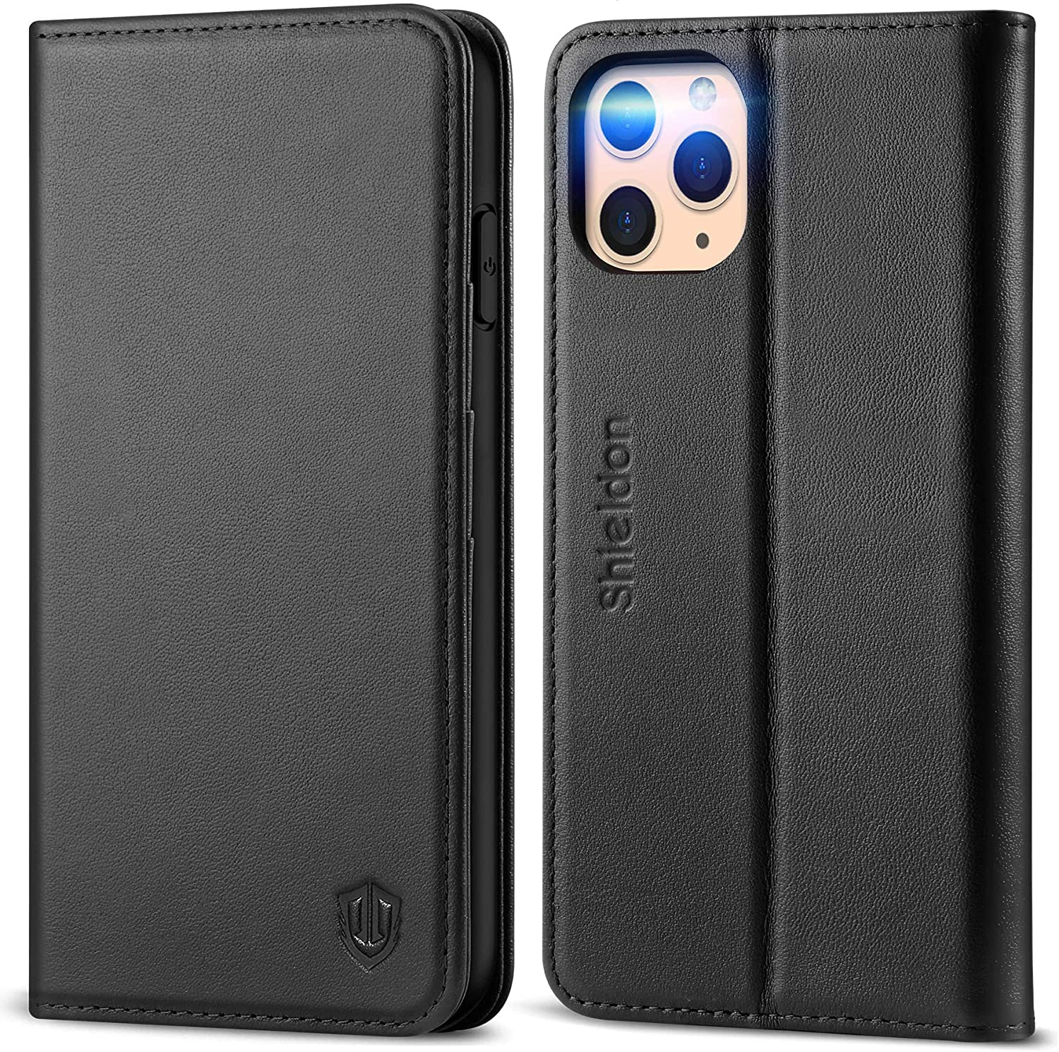 SHIELDON iPhone 11 Pro Max Case, Genuine Leather Auto Sleep Wake Wallet Case Flip Magnetic Cover RFID Blocking Card Slots Kickstand Shockproof Case Compatible with iPhone 11 Pro Max (6.5-inch) - Black