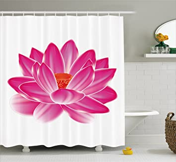 Ambesonne Lotus Shower Curtain By Vibrant Flower Pattern Spa Zen Yoga Asian Balance Energy