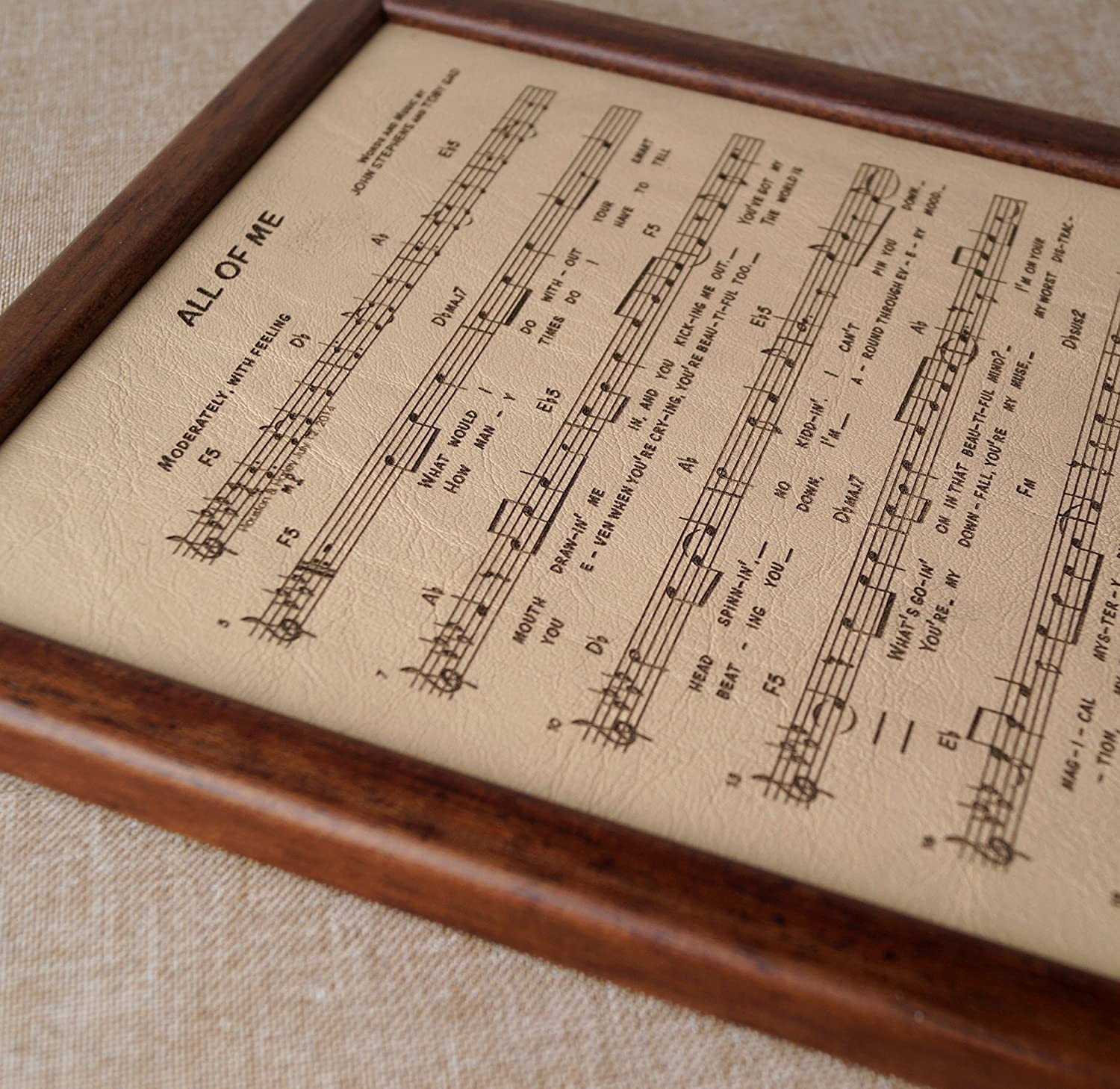 3rd Wedding Anniversary Gift.3rd Wedding Anniversary Gift Leather Engraving Music Notes Sheet Engraved On Real Leather Leather Picture Custom Engraving