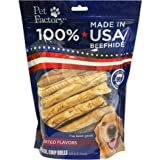 """Pet Factory 78109 100% American Beefhide Assorted Flavored (Beef & Chicken) 5"""" Chip Rolls  20 Pack of Rawhide Treats"""