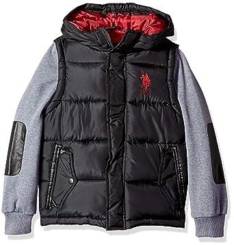 7c64170481d0 Amazon.com  U.S. Polo Assn. Boys  Bubble Vest Jacket with Fleece ...