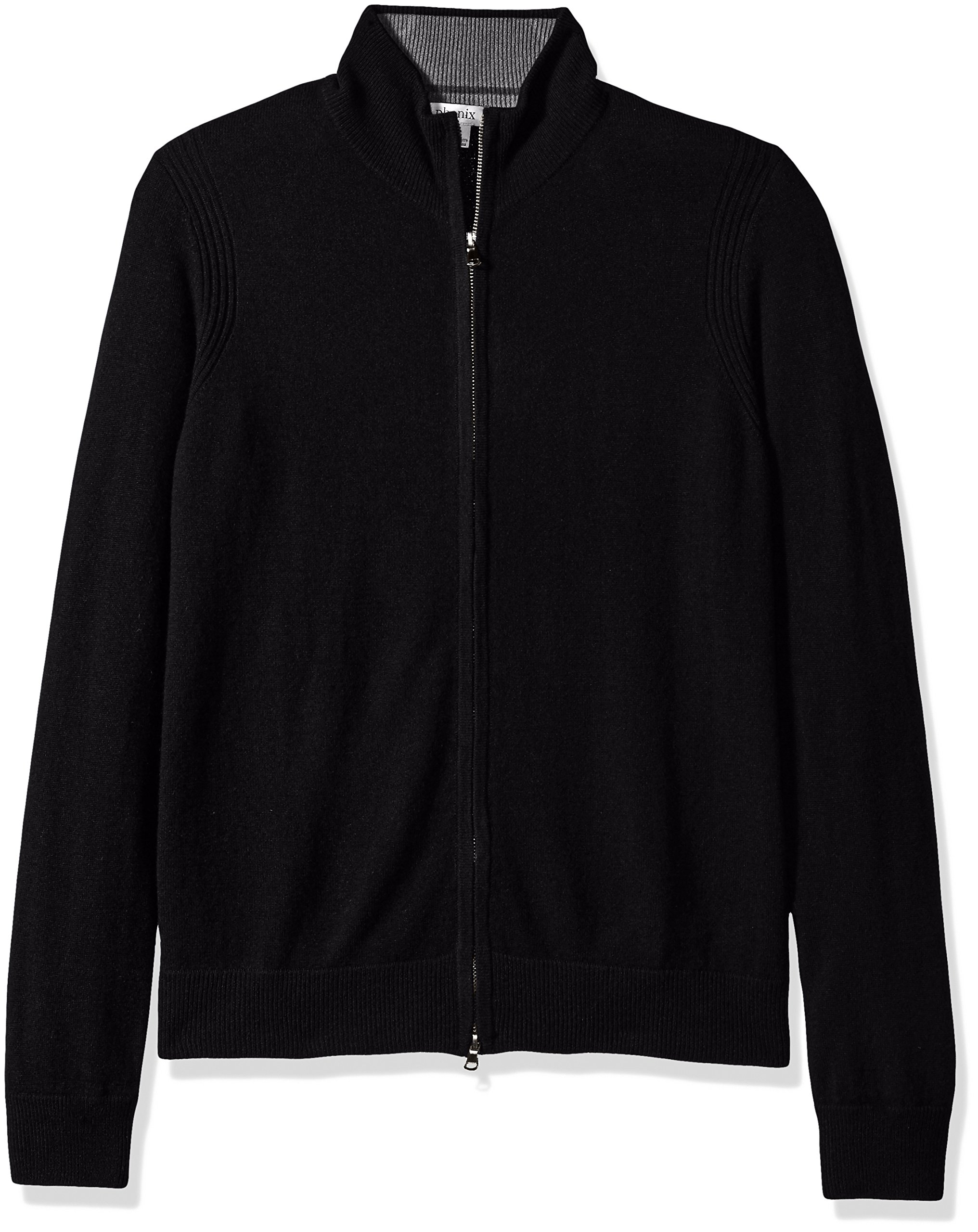 Phenix Cashmere Men's Double Zip Mock Cardigan Sweater with Color Tipping, Black/Gry, XX-Large