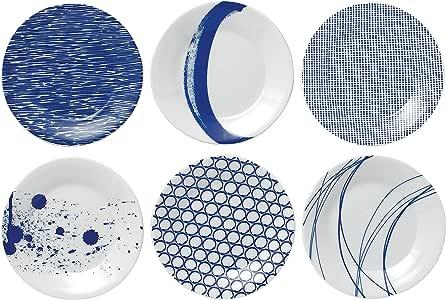 Royal Doulton Pacific Dots Set of 6 Tapa Plates Blue