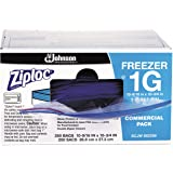 Ziploc 94604 Double-Zipper Freezer Bags, 1gal, 2.7mil, Clear w/Label Panel (Case of 250)
