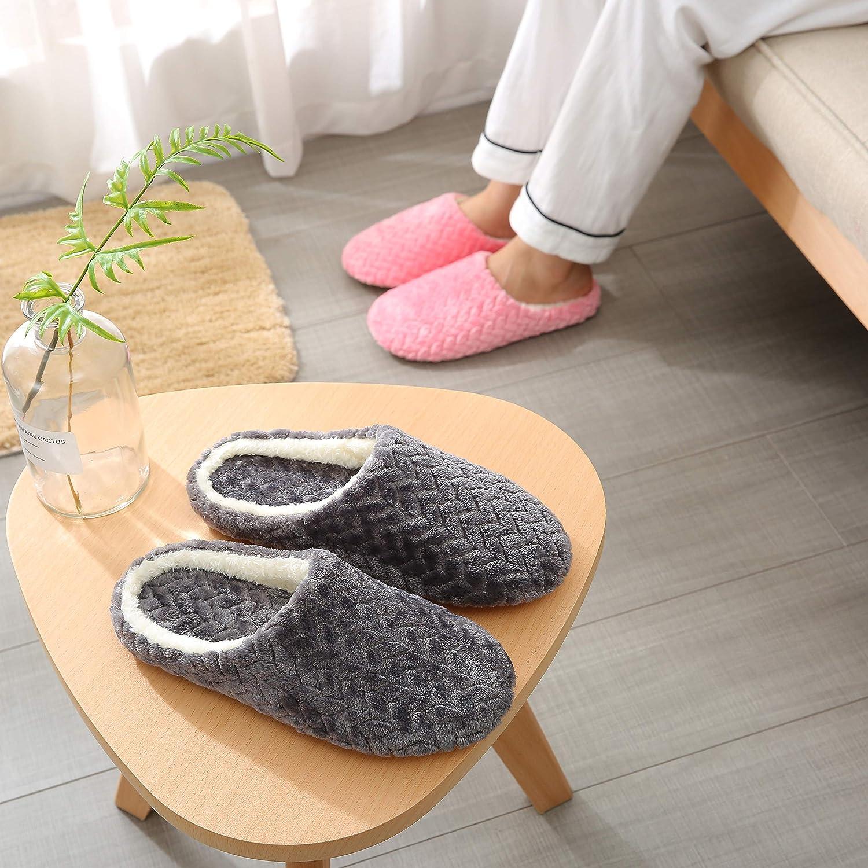 SAGUARO/® Coton Peluche Pantoufles Automne Hiver Chaussons Femme Homme Mules Accueil Slippers Doublure Int/érieure Douce Chaussures