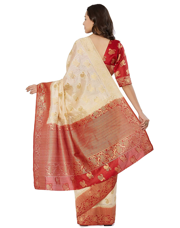 1d97a8e1d6 Viva N Diva Womens Navy Blue Color Banarasi Art Silk Saree with Unstitched  Blouse Piece.