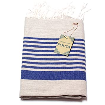 Toalla Fouta, tamaño extra grande XXL (197 x 100 cm), 100 % algodón de Túnez, para sauna, baño ...