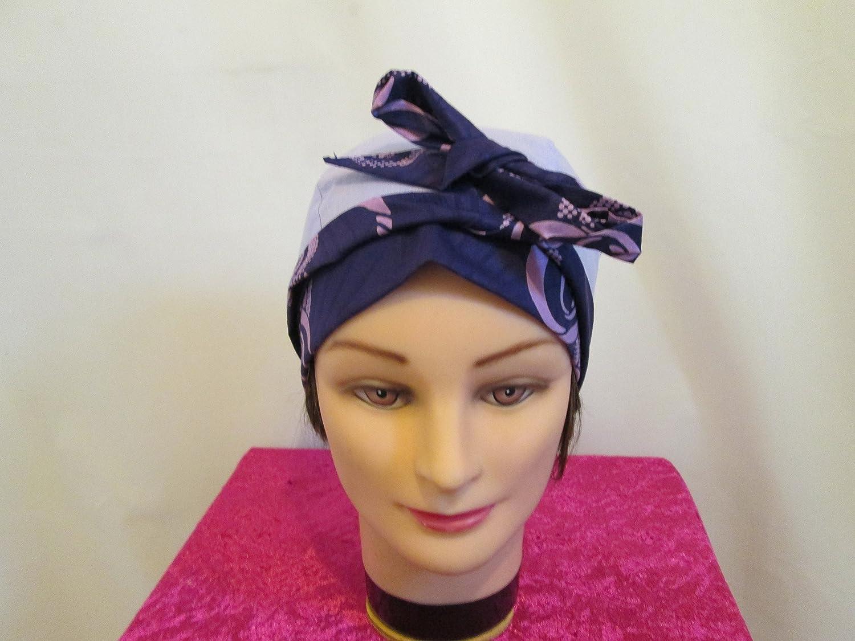 Foulard, turban chimio, bandeau pirate au féminin mauve et violet africain