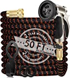 WGCC Expandable Garden Hose, 50Ft [Extra-Thick 4 Layers Latex Core] 5-in-1 Water Garden Hose with Heavy Duty 9 Function…