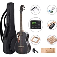 Left Handed - Caramel CB904L Ebony Baritone Acoustic Electric Ukulele with Truss Rod with D-G-B-E Strings & free G-C-E-A strings, Padded Gig Bag, Strap and EQ cable