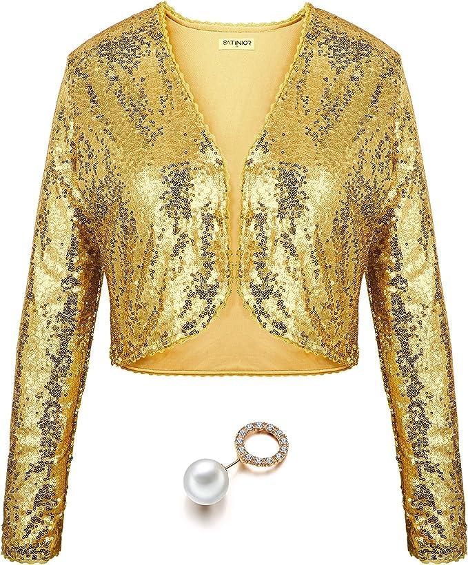 YiZYiF Womens Shiny Sequin Long Sleeve Cropped Top Shrug Blazer Bolero Open Cardigan Jacket