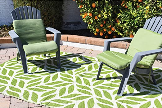 Amazon Com Reversible Mats Outdoor Patio Mat Virgin Polypropylene Easy To Clean Perfect For Picnics Cookouts Camping The Beach And Patio Leaf Design 5 Feet X 8 Feet Green White Kitchen Dining