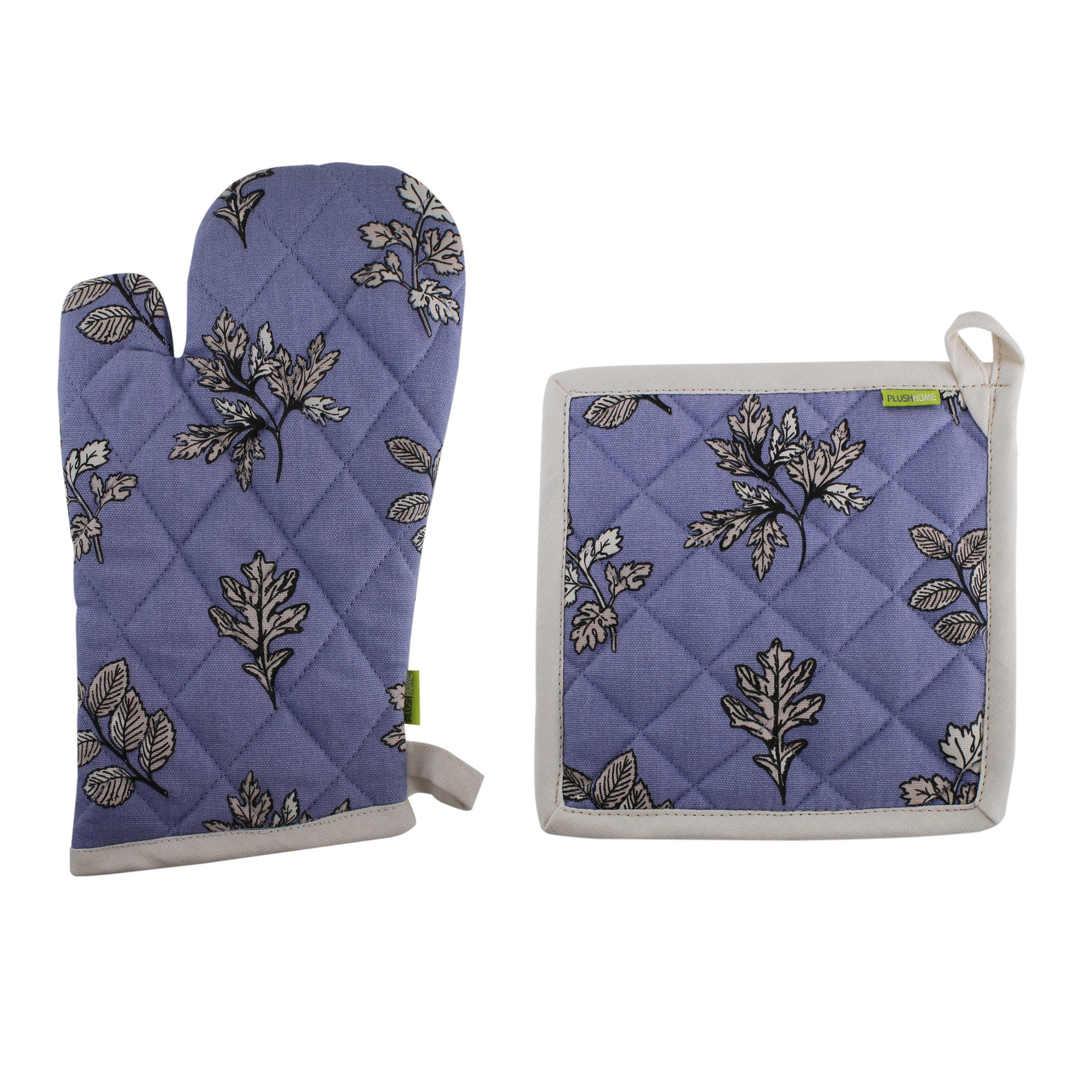 Pot Holder And Oven Mitt Set, 100% Cotton, Set of 1 Oven mitten of Size 7''X12 Inch & 1 Potholder of Size 8''X8 Inch, Eco - Friendly & Safe, Blue Autmun Leaves Design for Kitchen