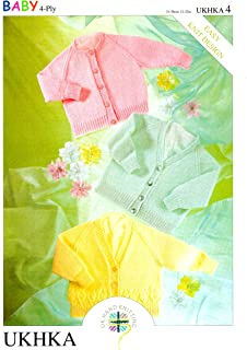 Double Knitting Pattern Dress Cardigan Wool Premature To 4Yrs 30.5-61cm 12-24in.