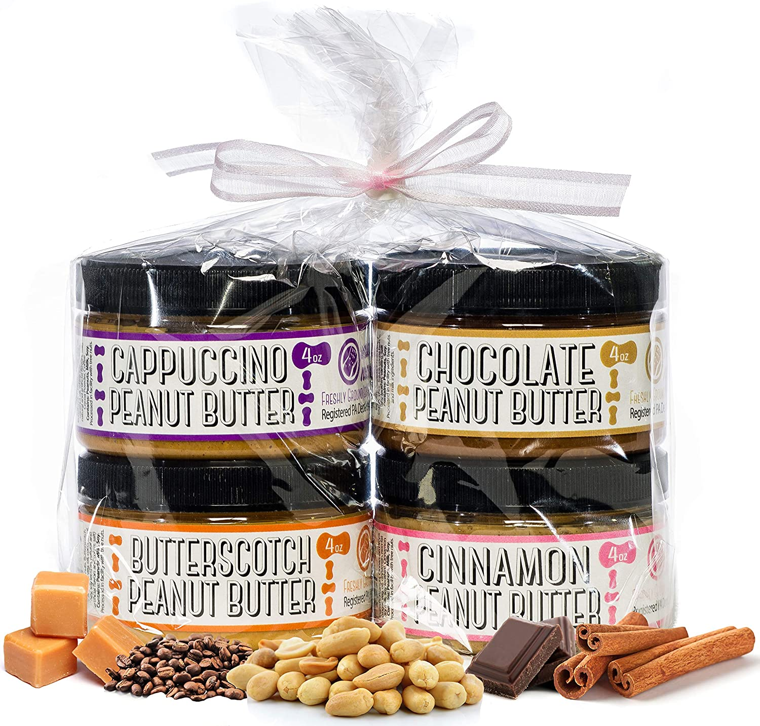Nutty Novelties Sweet Sampler Peanut Butter Gift Pack - Cappuccino, Butterscotch, Cinnamon & Chocolate Peanut Butter - Healthy Peanut Butter - Crunchy Peanut Butter - 4 Ounces, Pack of 4