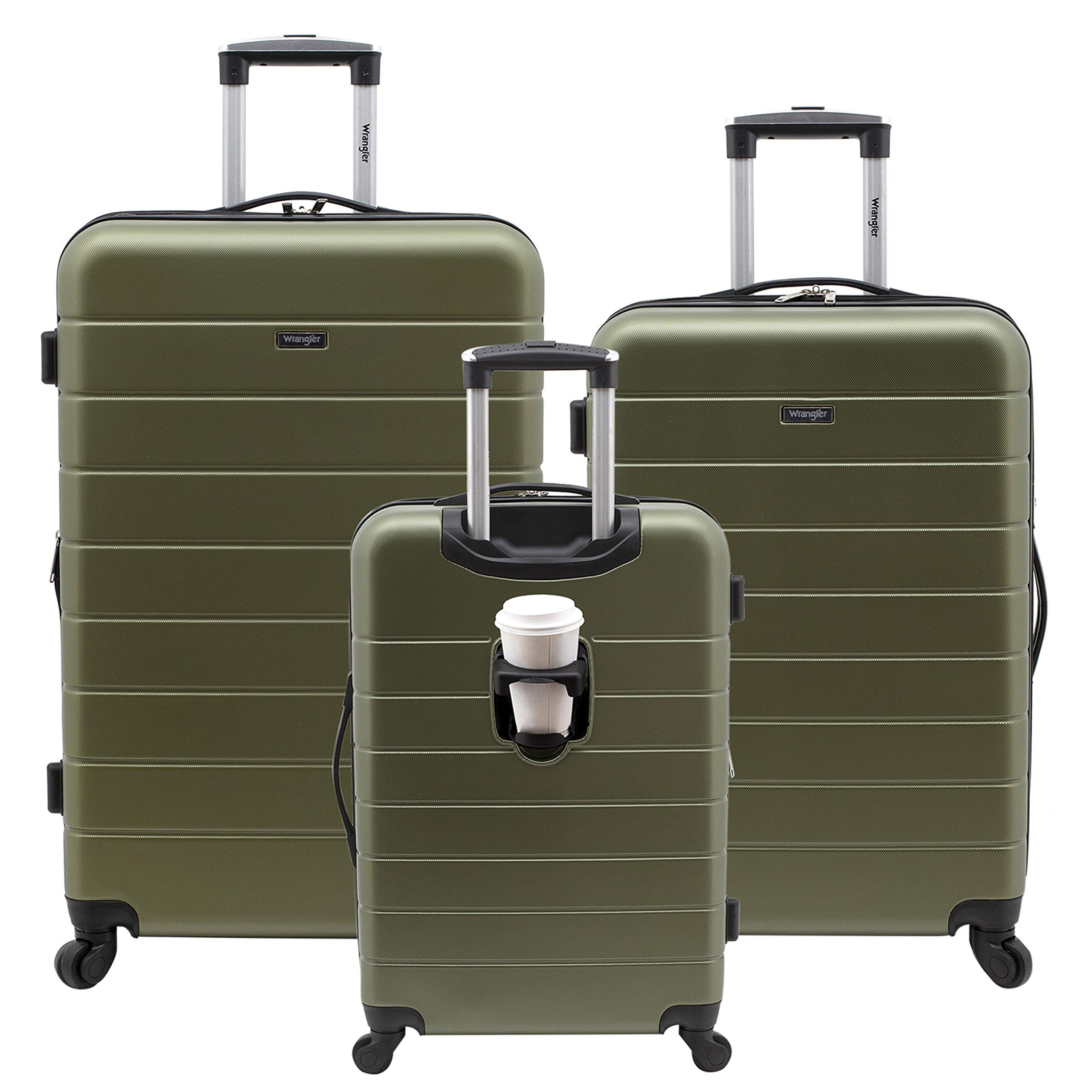 Wrangler 3 Piece Luggage Set Smart Hardside with USB Charging Port, Olive Green by Wrangler