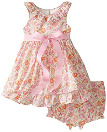 Amazon Com Laura Ashley London Baby Girls Infant Ruffle Neck Dress