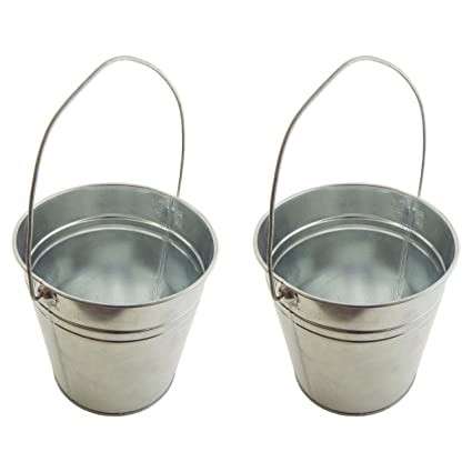 Amazoncom Set Of 2 Galvanized Metal Pail Buckets Size 6 Tall X 7