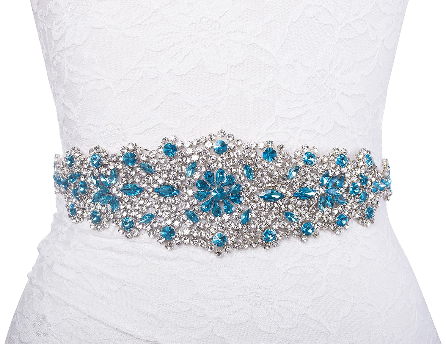 Redowa Wide Malibu Blue Rhinestone Pearl Wedding Dress Bridal Sash ...