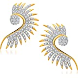 MEENAZ white GOLD & RHODIUM PLATED CZ Ear cuff Earring for Girls