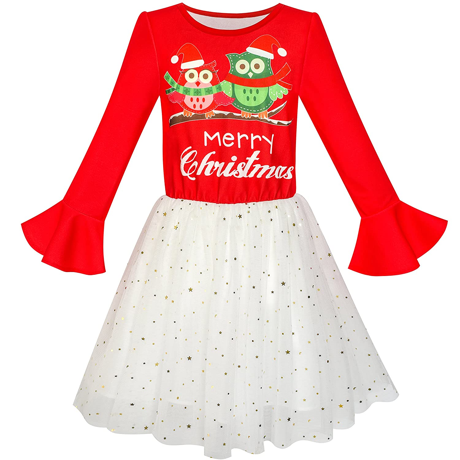 Sunny Fashion Girls Dress Long Sleeve Christmas Owl Sparkling Sequin Tulle