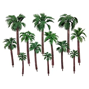 CSPRING 12PCS Green Plastic Model Trees Layout Rainforest Train Palm Tree Diorama Scenery for Home Outdoor Garden Decor