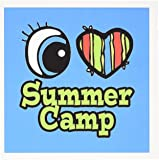 3dRose Bright Eye Heart I Love Summer Camp - Greeting Cards, 6 x 6 inches, set of 12 (gc_106585_2)