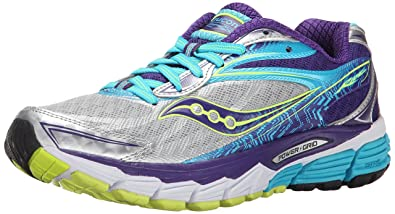 Saucony Women's Ride 8 Trail Running Shoes, Multicolor (Silver/Purple/Blue)
