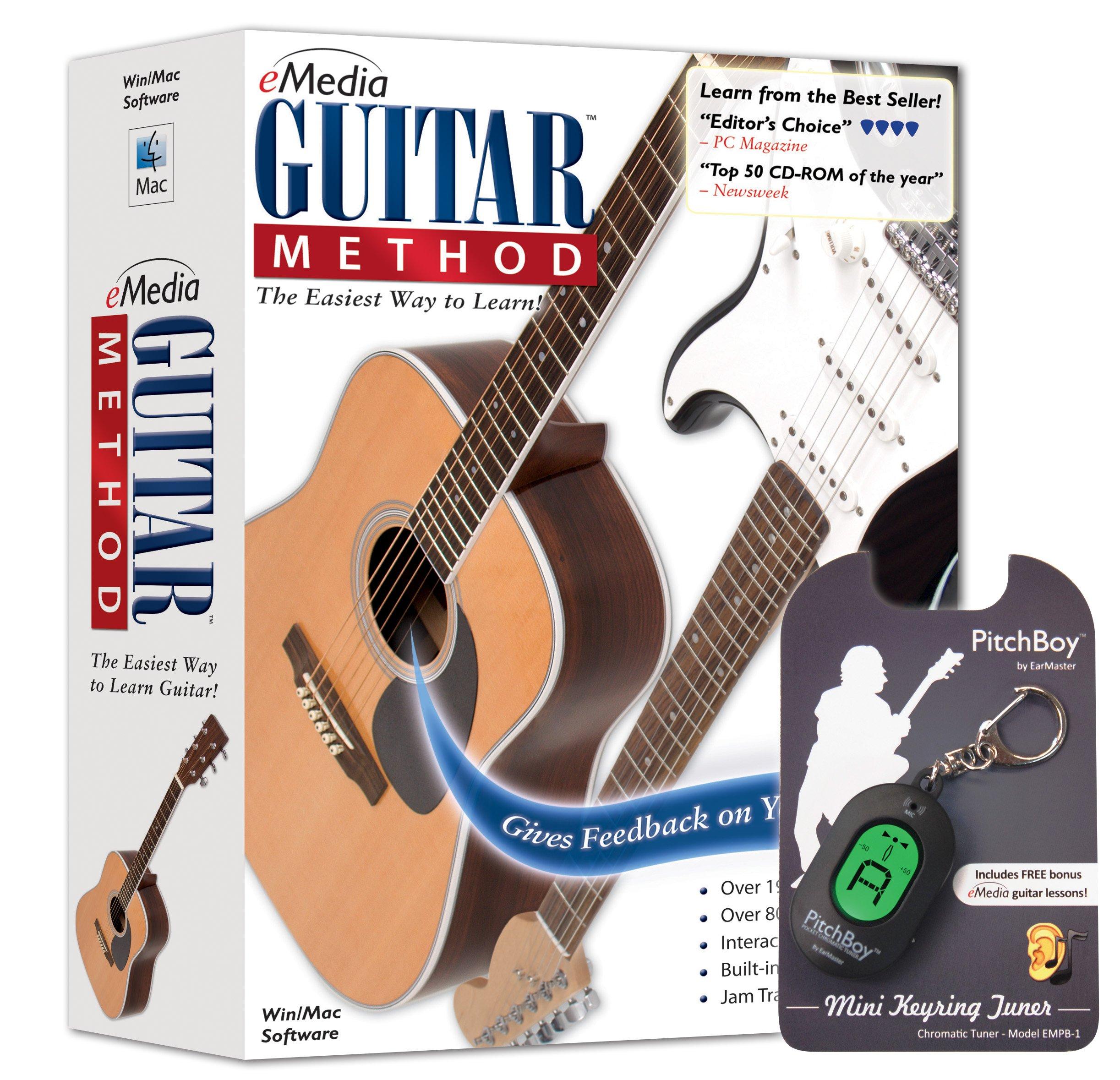 eMedia Guitar Method v6 - with Pitchboy Mini Keyring Tuner (Amazon-Exclusive) by eMedia