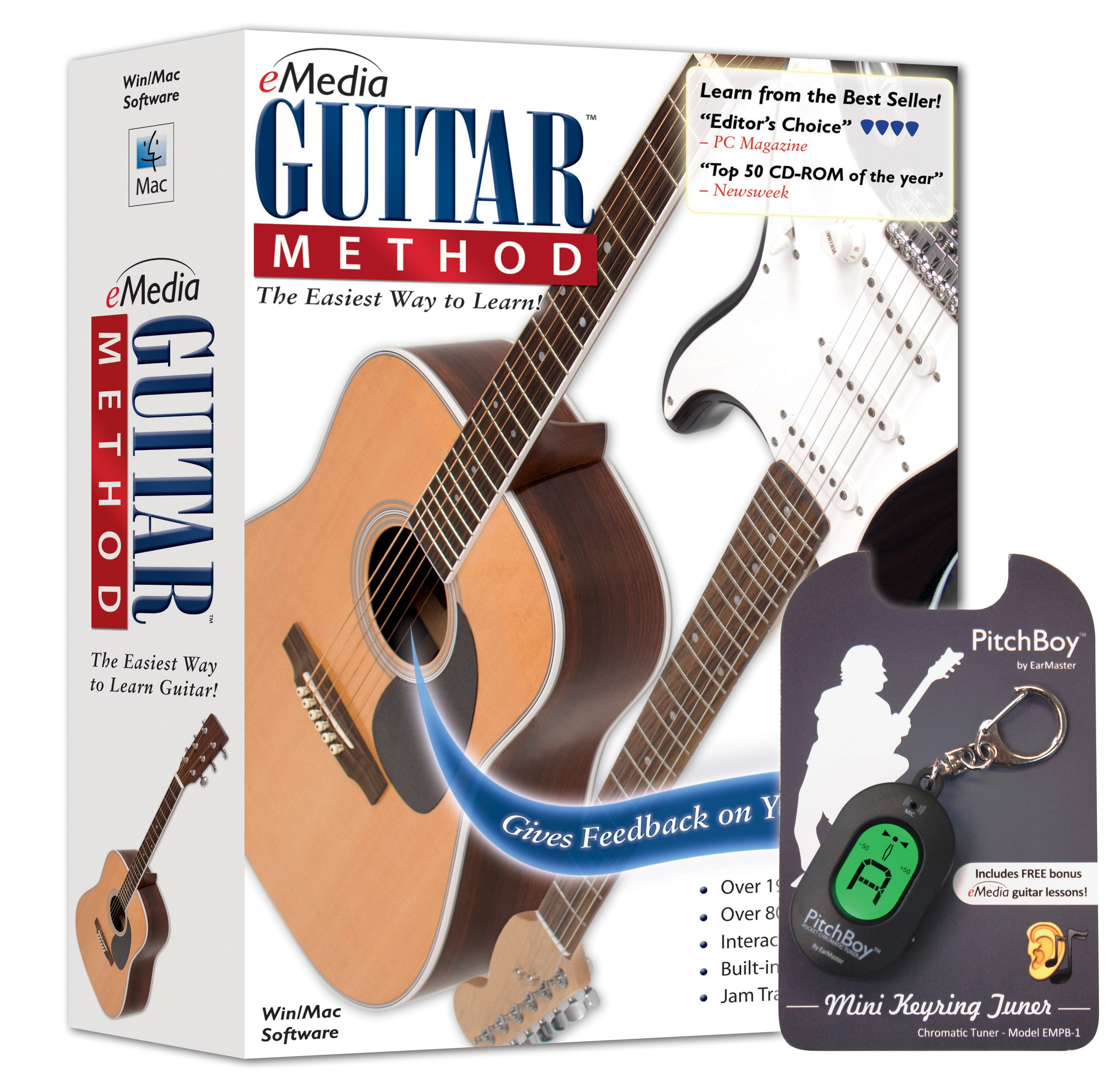 eMedia Guitar Method v6 - with Pitchboy Mini Keyring Tuner (Amazon-Exclusive)