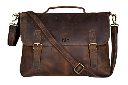 251ac101ff Image Unavailable. Image not available for. Color  Handolederco 15 quot  Buffalo  Leather Vintage Rustic Leather Messenger Laptop Briefcase ...