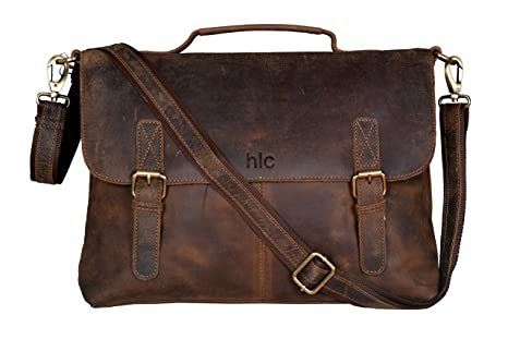 Vintage Buffalo Leather Messenger Satchel Laptop Briefcase Men/'s Bag Crazy USA