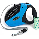 Retractable Dog Leash - Medium or Large Dogs - Leash Cord up to 110 lbs - Heavy Duty Dog Leash for Men - Strong Cute Nylon Extends 16 ft - Durable Outside - Tangle Free - Blue - Waste Bags included