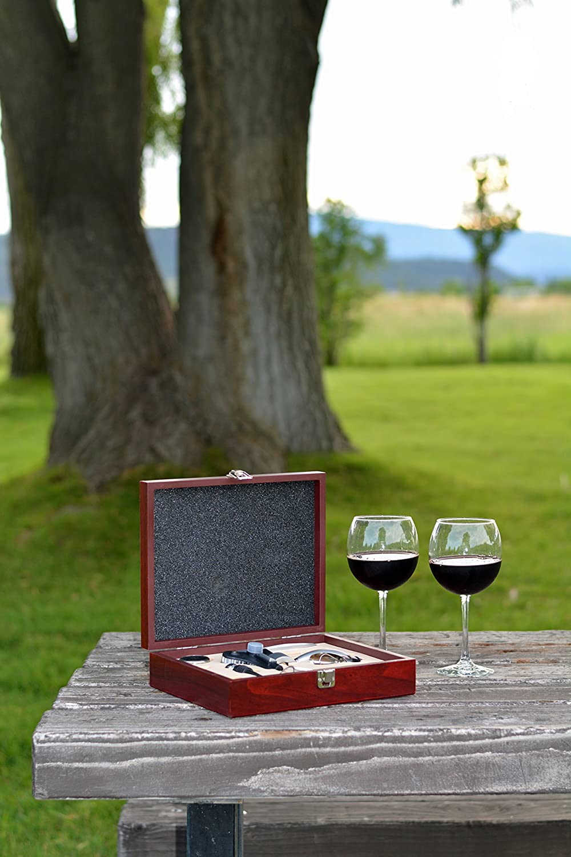 Noir /él/égant Box cadeaux de mariage//anniversaire tout ce Vin Ensemble daccessoires 9/pi/èces/ lapin Tire-bouchon /à levier /Comprend A/érateur de vin