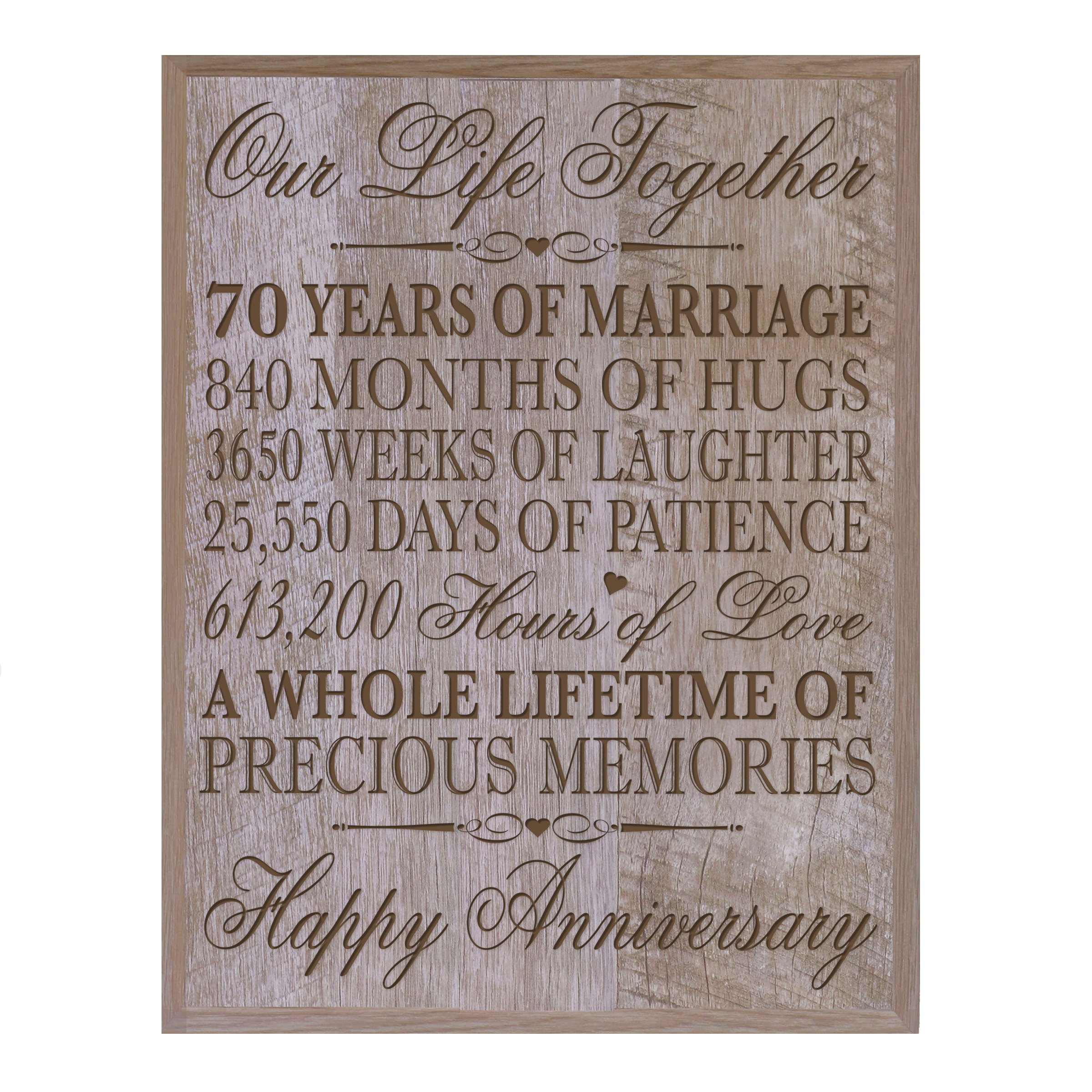 15 Wedding Anniversary Gifts For Her: 70th Wedding Anniversary Wall Plaque Gifts For Couple