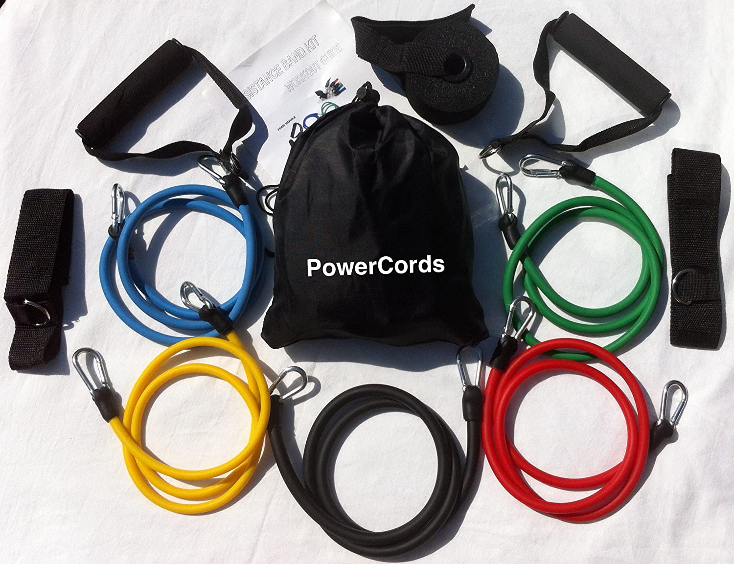 100% NATURAL LATEX TUBES, Columbia-Bookfest®Power Cords Resistance Bands 11pc Set, Ideal For Home Fitness, Yoga, Pilates, Abs, P90x & Workout with workout guide. Part of the Columbia-Bookfest® PowerCord products. Yongkang Youngho PC11