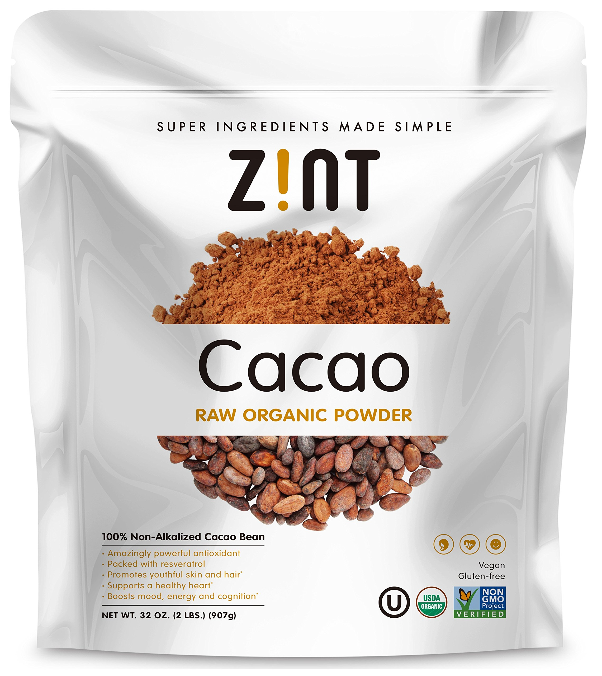 Zint Organic Cacao Powder (32 oz): Raw Non-Alkalized Chocolate With Powerful Antioxidants and Resveratrol