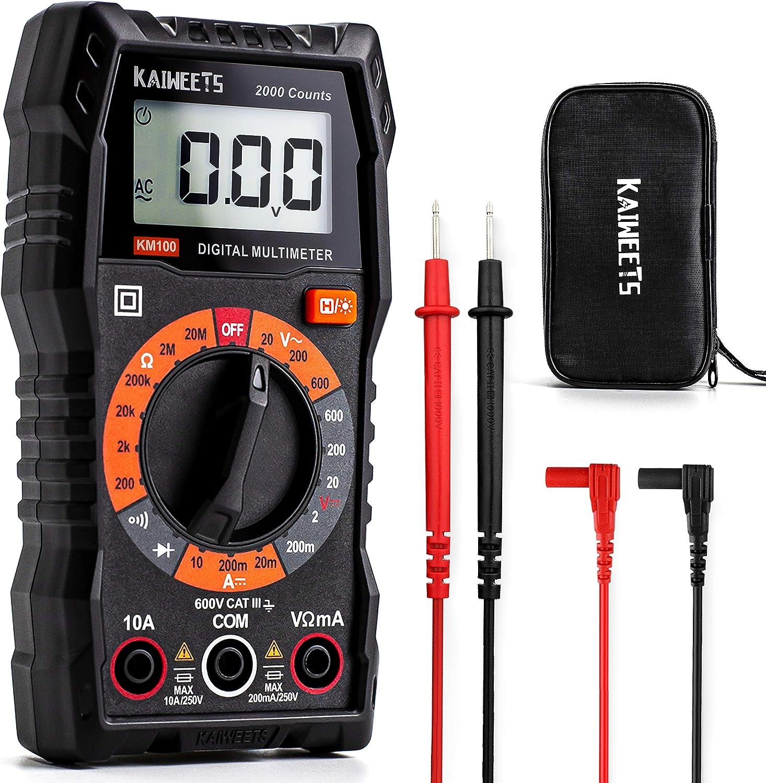Kaiweets Digital Multimeter Km100 Cat Iii 600 V Voltmeter Für Ac Dc Spannung Dc Strom Durchgang Widerstand Diode Mit Schutztasche Und Messleitungen Baumarkt