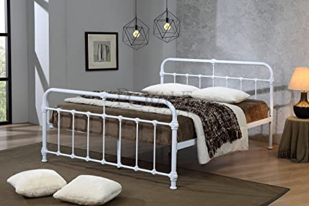 ROYALE COMFORT Mandy Double Metal Bed Frame White Hospital Style Small  Double King Size Beds (