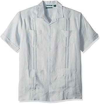 422640fe Amazon.com: Cubavera Men's Short-Sleeve 100% Linen Guayabera, Gray ...