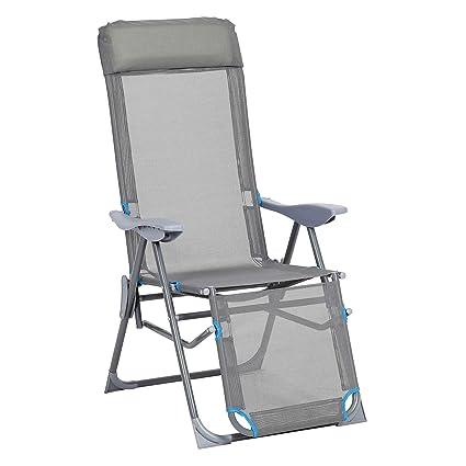 Liegestuhl Gartenstuhl.Greemotion Relaxsessel Lido Klappbarer Liegestuhl Gartenstuhl Mit Aluminium Gestell Klappstuhl Mit 5 Fach Verstellbarer Rückenlehne In Grau Blau