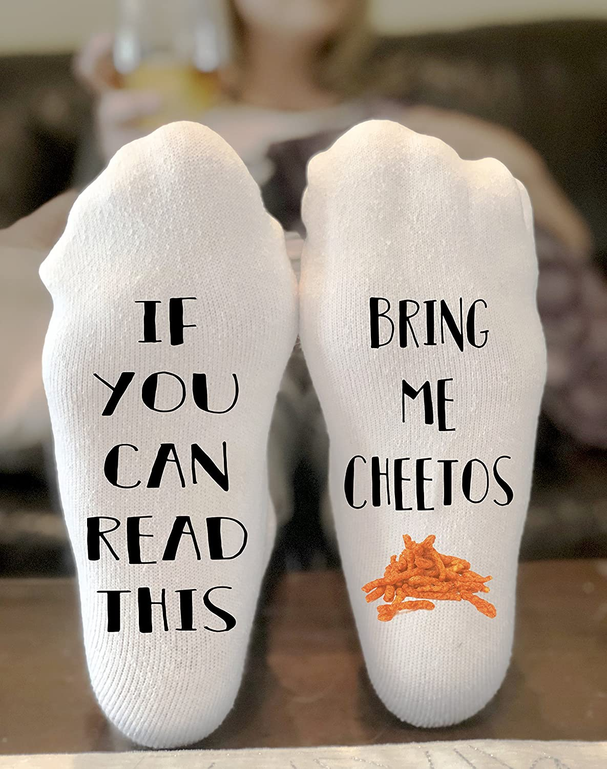 If You Can Read This Bring Me Cheetos Socks Novelty Funky Crew Socks Men Women Christmas Gifts Cotton Slipper Socks