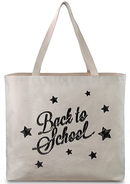 db8883840 Reusable Canvas Bag - Tote Bag with Printed School Theme. Double Stitched  with Sturdy Shoulder