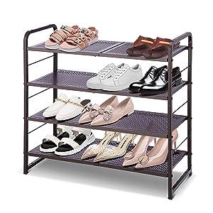 Simple Trending 4-Tier Stackable Shoe Rack, Expandable & Adjustable Shoe Shelf Storage Organizer, Bronze