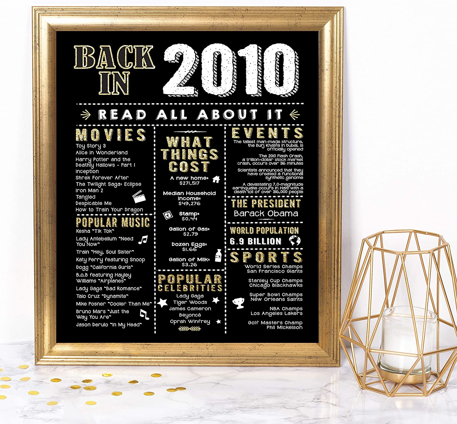 Katie Doodle 10th Birthday Decorations Party Supplies Gifts for 10 Year Old Boy Girl - Includes 8x10 Back in 2010 Sign [Unframed], BD010, Black & Gold