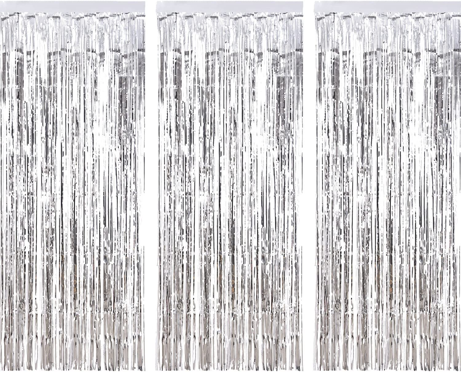 Sumind 3 Pack Metallic Tinsel Curtains, Foil Fringe Shimmer Curtain Door Window Decoration for Birthday Wedding Party (Silver)