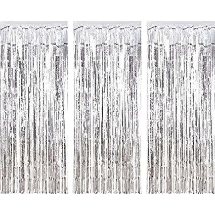 Sumind 3 Pack Metallic Tinsel Curtains Foil Fringe Shimmer Curtain Door Window Decoration For Birthday