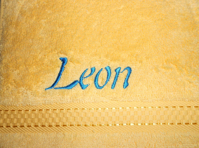 Toalla de mano de rizo con nombre bordado, 50 x 100 cm limón: Amazon.es: Deportes y aire libre