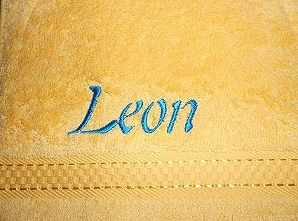 Toalla de mano de rizo con nombre bordado, 50 x 100 cm limón