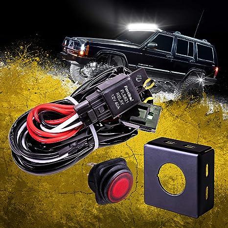amazon.com: lamphus 13' off road led light bar wiring harness kit -  waterproof switch & mounting bracket 30a fuse 40a relay (usa warranty) for  atv: automotive  amazon.com